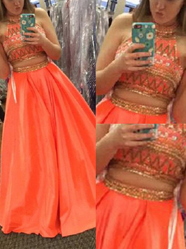 Orange Satin High Neck A-Line/Princess Floor-Length Prom Dresses