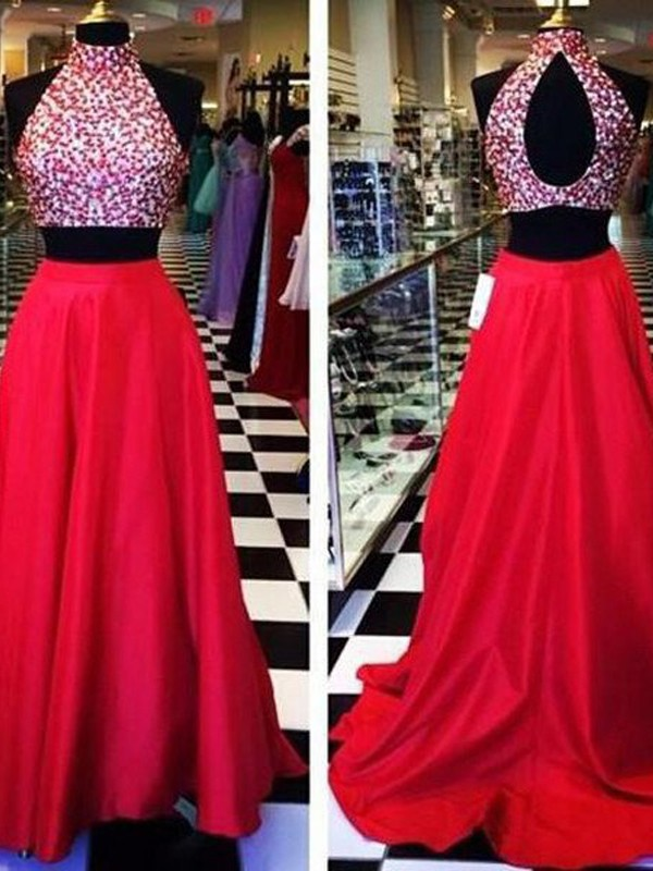 Red Satin Halter A-Line/Princess Sweep/Brush Train Prom Dresses