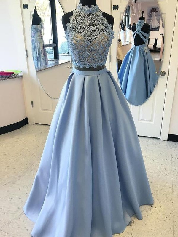 Light Sky Blue Satin High Neck Ball Gown Floor-Length Prom Dresses
