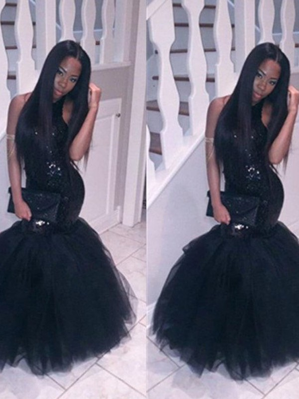 Black Tulle Halter Trumpet/Mermaid Floor-Length Prom Dresses