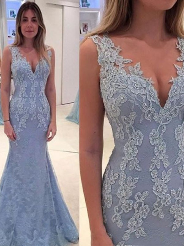 Light Sky Blue Lace V-neck Trumpet/Mermaid Sweep/Brush Train Dresses