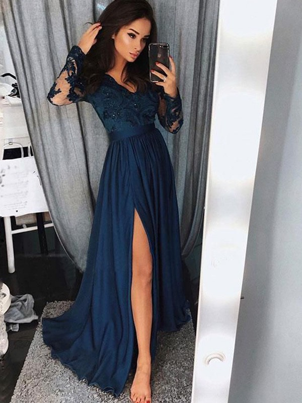 Blue Satin Chiffon V-neck A-Line/Princess Sweep/Brush Train Dresses