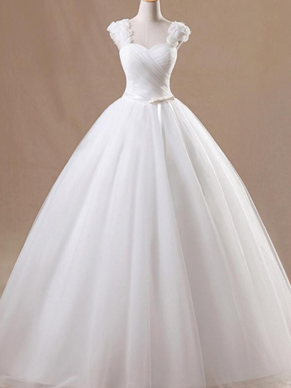 White Tulle Square Ball Gown Floor-Length Wedding Dresses