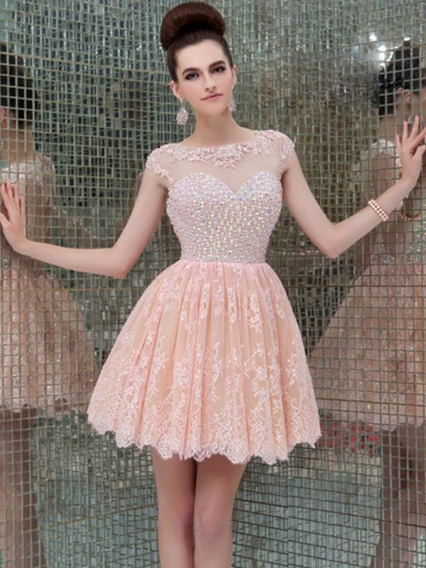 Pearl Pink Lace Scoop A-Line/Princess Short/Mini Dresses