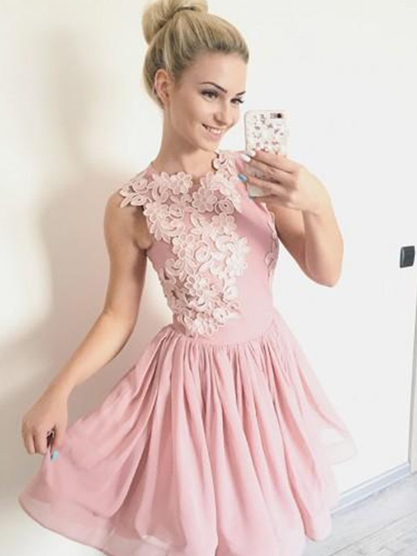 Pink Chiffon Scoop A-Line/Princess Short/Mini Dresses
