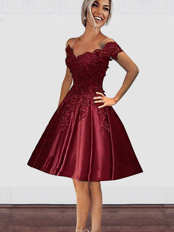 Burgundy Satin Off-the-Shoulder A-Line/Princess Knee-Length Dresses