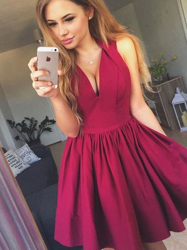 Burgundy Satin V-neck A-Line/Princess Short/Mini Dresses