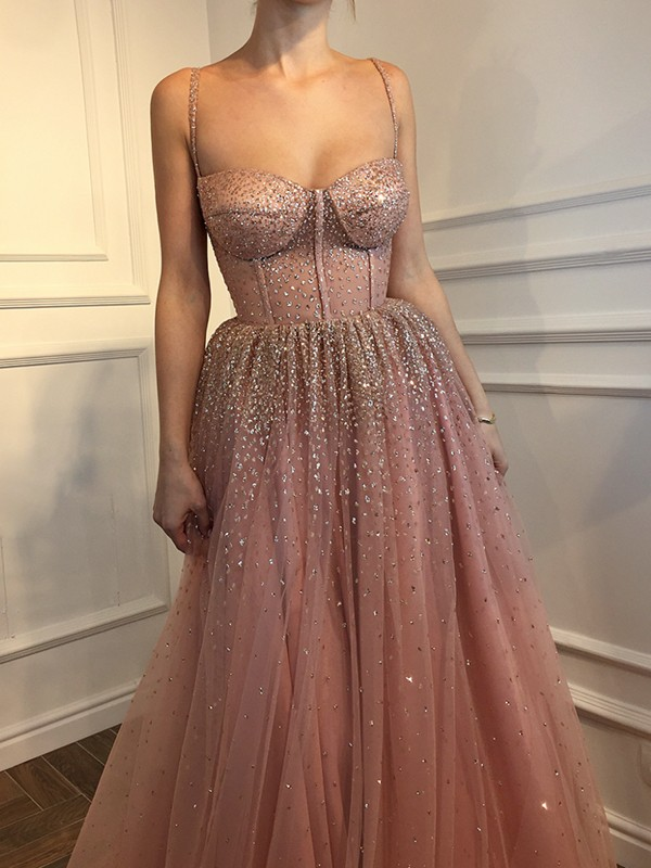 Pink Tulle Spaghetti Straps A-Line/Princess Floor-Length Dresses
