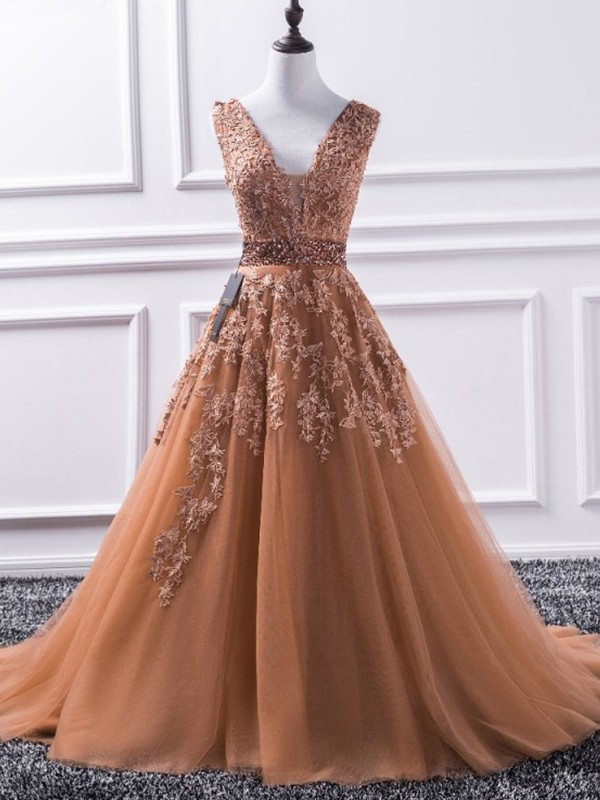 Brown Tulle V-neck A-Line/Princess Sweep/Brush Train Dresses