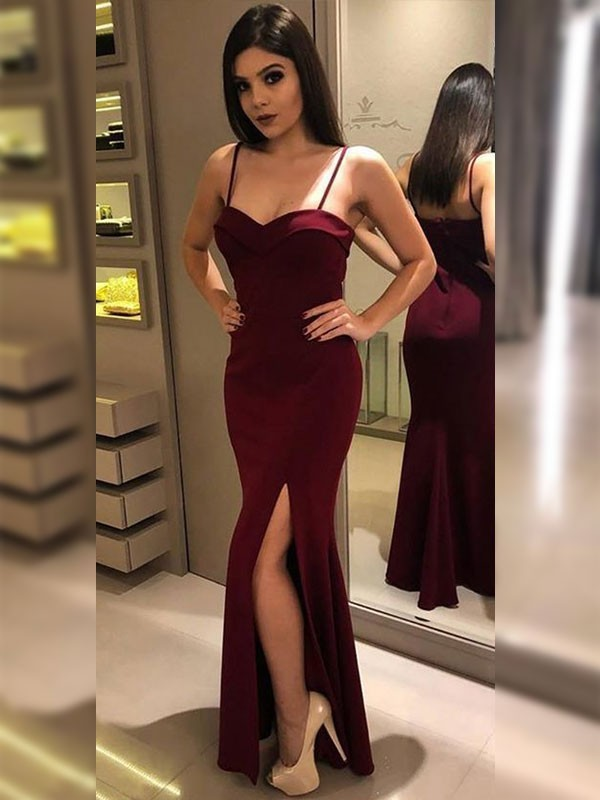 Burgundy Jersey Spaghetti Straps Sheath/Column Floor-Length Dresses