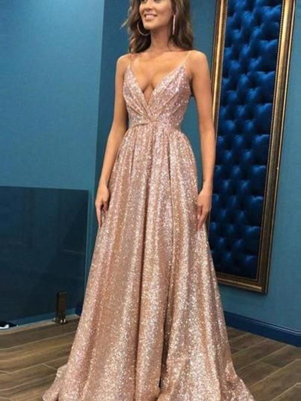 Champagne Sequins Spaghetti Straps A-Line/Princess Floor-Length Dresses