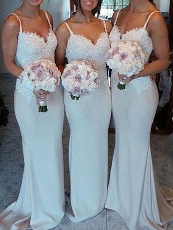 Ivory Satin Sweetheart Sheath/Column Sweep/Brush Train Bridesmaid Dresses
