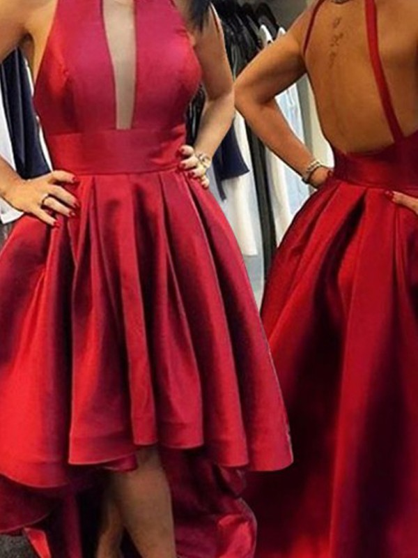 Red Satin Halter A-line/Princess Asymmetrical Dresses