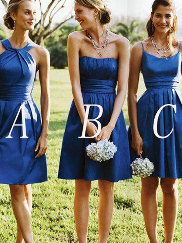 Royal Blue Satin A-Line/Princess Short/Mini Bridesmaid Dresses