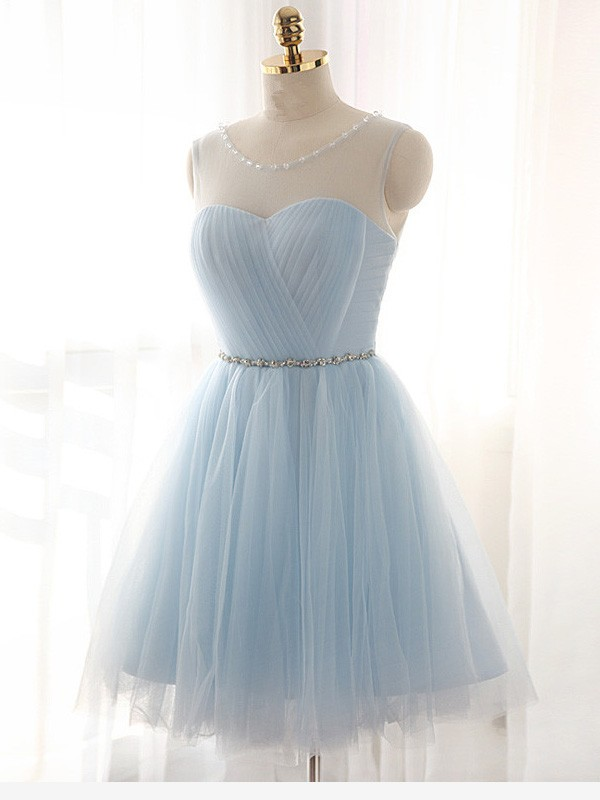 Light Sky Blue Tulle Scoop A-line/Princess Short/Mini Dresses