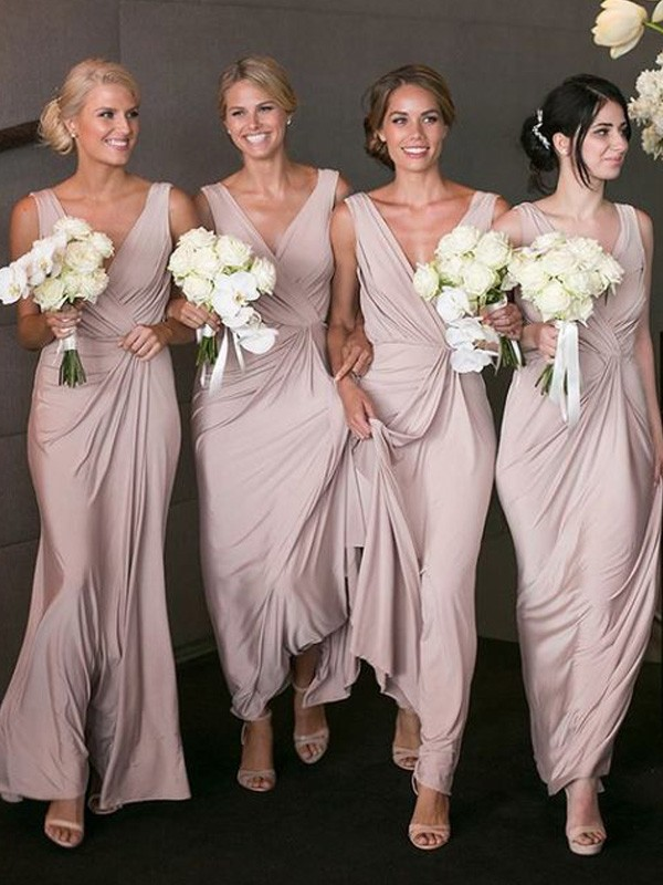 Pink Spandex V-neck A-Line/Princess Floor-Length Bridesmaid Dresses