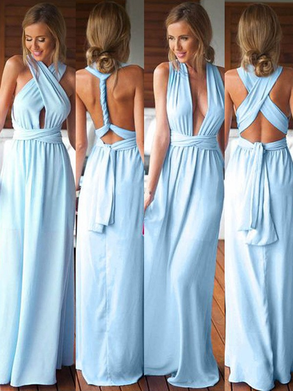 Blue Chiffon A-Line/Princess Floor-Length Bridesmaid Dresses