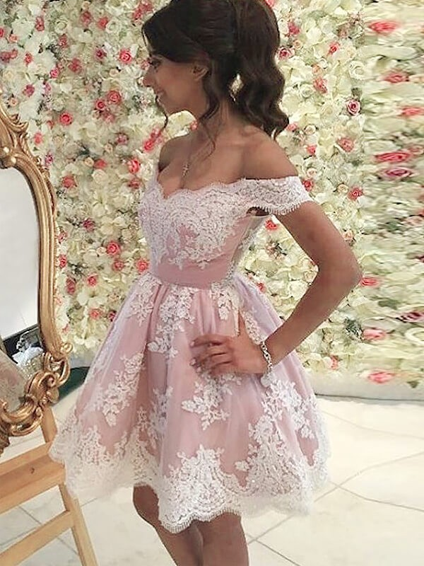 Pink Tulle Off-the-Shoulder A-line/Princess Short/Mini Homecoming Dresses