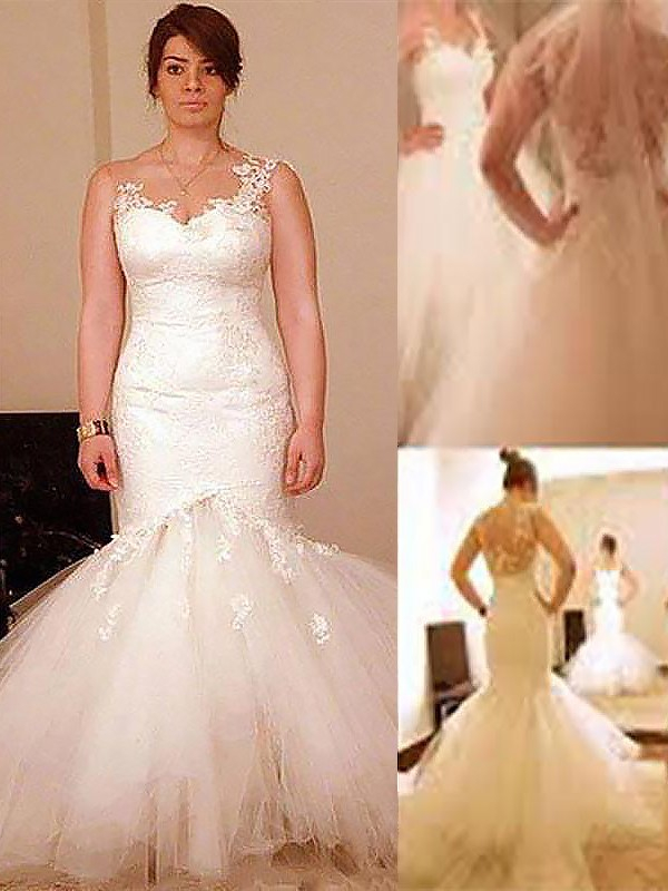 Ivory Organza Straps Trumpet/Mermaid Floor-Length Wedding Dresses