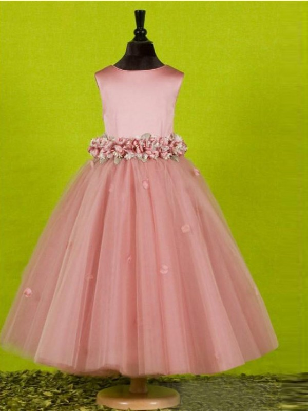 Pink Tulle Scoop A-Line/Princess Tea-Length Flower Girl Dresses