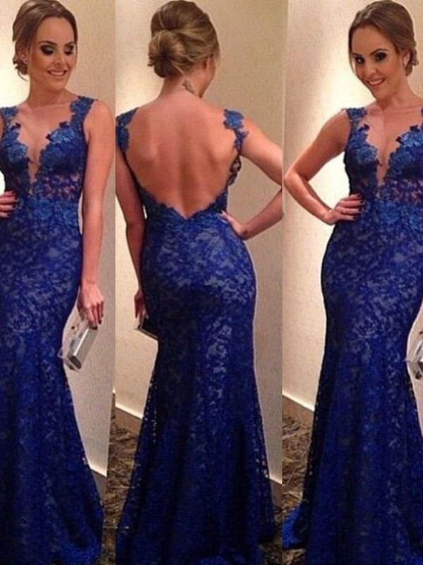 Royal Blue Lace V-neck Trumpet/Mermaid Sweep/Brush Train Dresses