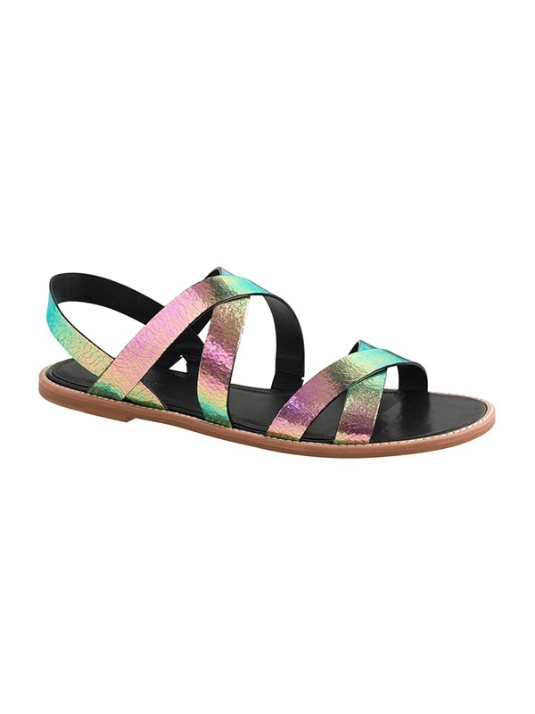 Bonnyin Colorful Sheepskin Flat Sandals