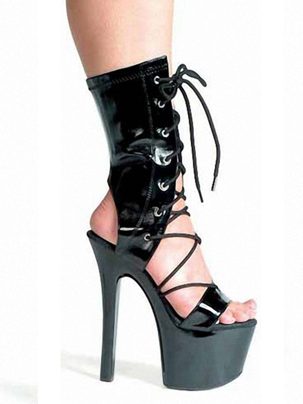 Women's Patent Leather Peep Toe Stiletto Heel High Heels