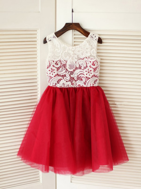 Red Tulle Scoop A-Line/Princess Tea-Length Flower Girl Dresses