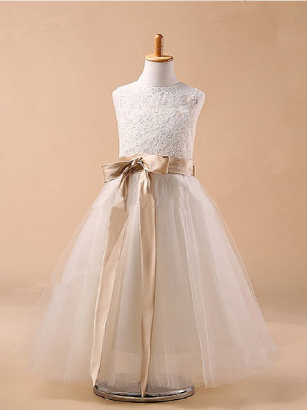 Ivory Tulle Jewel Ball Gown Ankle-Length Flower Girl Dresses