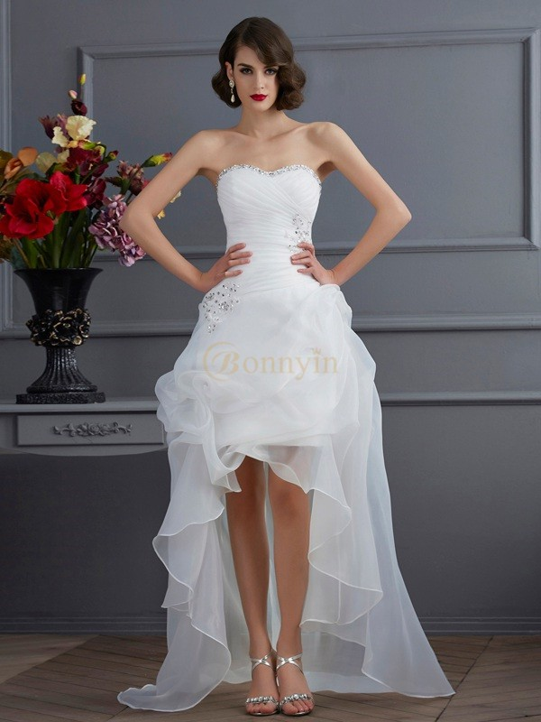 White Organza Sweetheart A Line Princess Asymmetrical Wedding Dresses