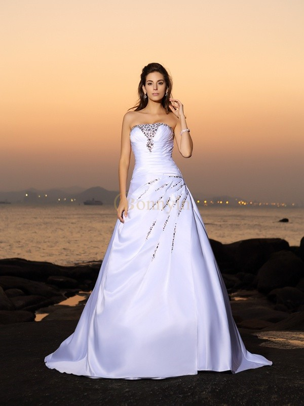 Ivory Satin Strapless A Lineprincess Chapel Train Wedding Dresses