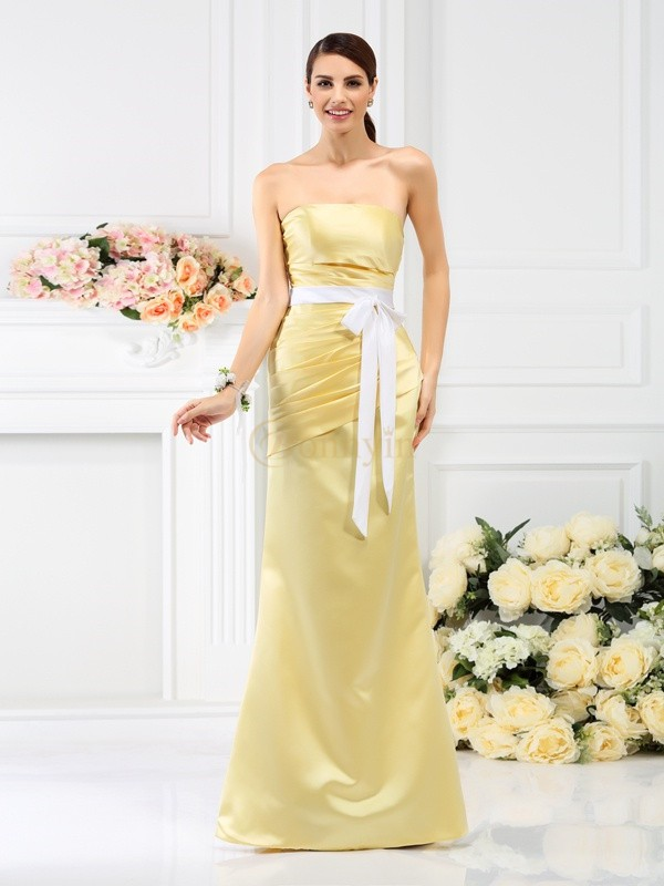 really comfortable detailed pictures beauty Yellow Satin Strapless Trumpet/Mermaid Floor-Length Bridesmaid Dresses