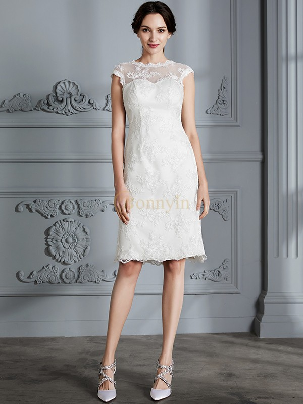 Ivory Satin Scoop A-Line/Princess Knee-Length Wedding Dresses ...