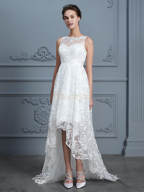Asymmetrical wedding dress with sleeves in women street auckland