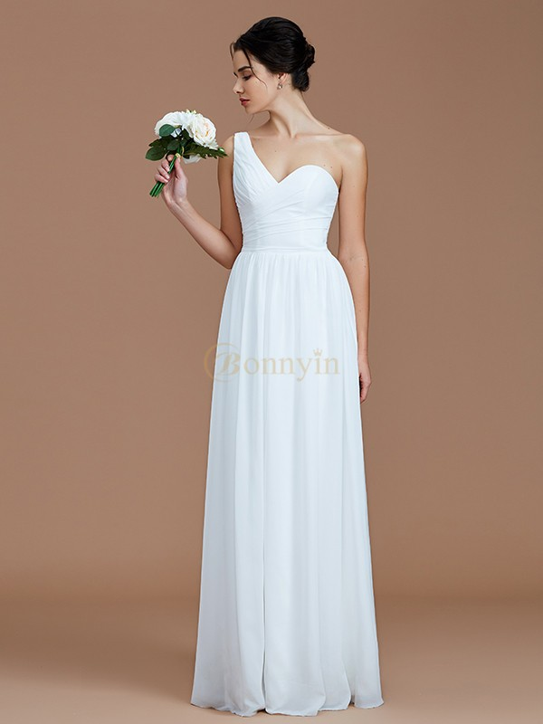 83f5f61880 White Chiffon One-Shoulder A-Line Princess Floor-Length Bridesmaid Dresses