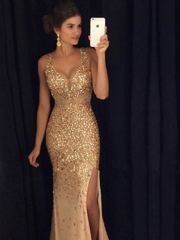 Champagne Jersey V Neck Sheathcolumn Court Train Prom Dresses