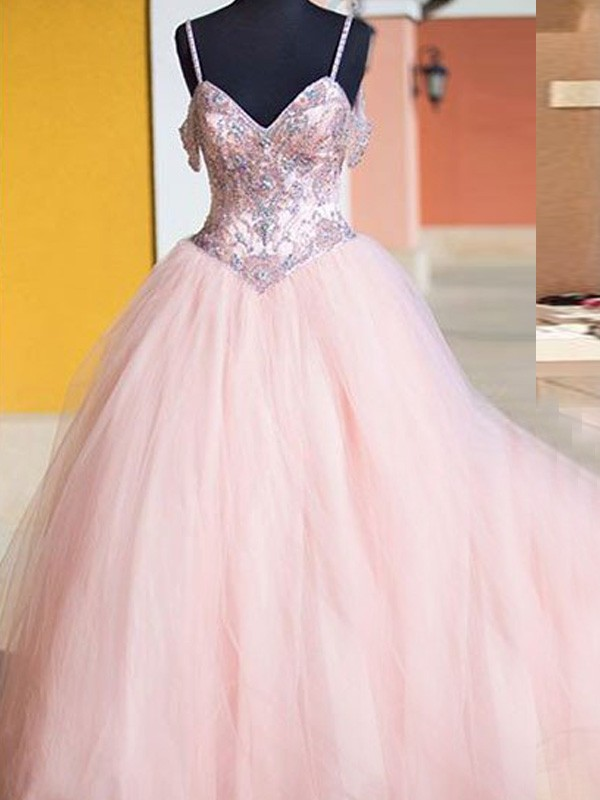 8fd646cca3e Pink Tulle Spaghetti Straps Ball Gown Floor-Length Prom Dresses ...