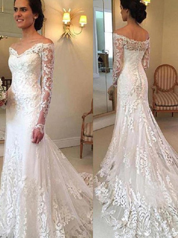 29366880463bc Ivory Lace Off-the-Shoulder Trumpet/Mermaid Court Train Wedding Dresses
