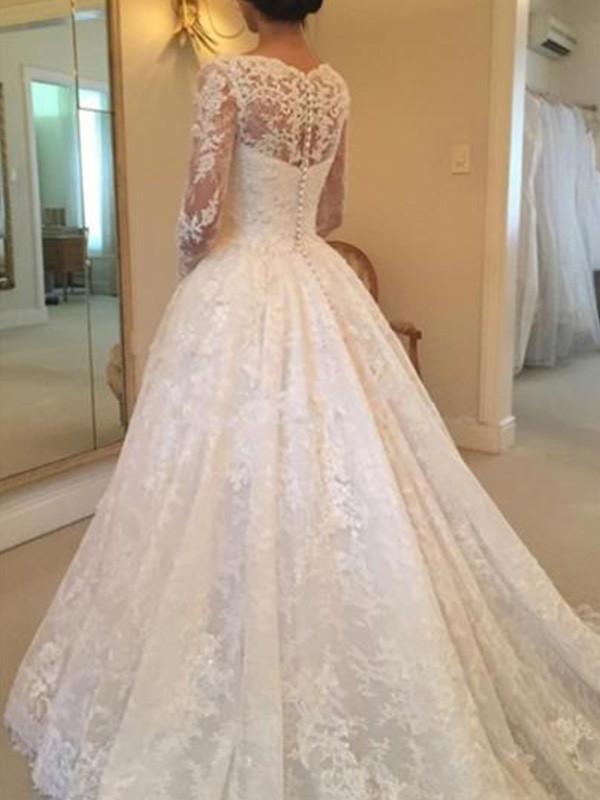 Ivory Lace Scoop Ball Gown Cathedral Train Wedding Dresses - Bonnyin.com