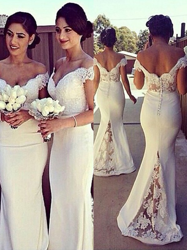 Ivory Satin Off The Shoulder Trumpet Mermaid Sweep Brush Train Bridesmaid Dresses