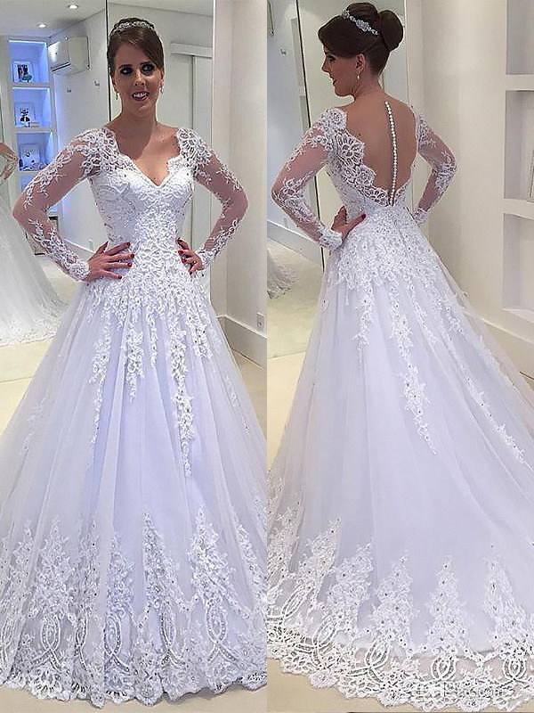 Ivory Tulle V Neck A Lineprincess Court Train Wedding Dresses