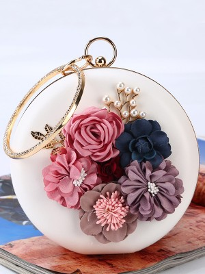 Round PU Evening/Party Handbags With Flowers