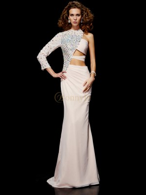 Pearl Pink Chiffon One-Shoulder Sheath/Column Sweep/Brush Train Dresses