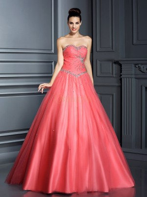 Watermelon Net Sweetheart Ball Gown Floor-Length Prom Dresses