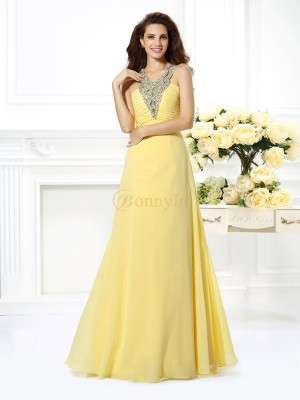 Daffodil Chiffon V-neck A-Line/Princess Floor-Length Dresses