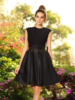 Black Satin High Neck A-Line/Princess Knee-Length Bridesmaid Dresses