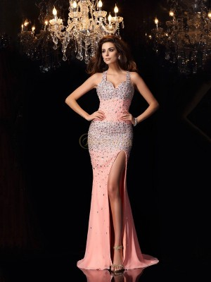 Pink Chiffon Straps Trumpet/Mermaid Sweep/Brush Train Dresses