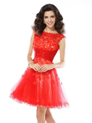 Red Elastic Woven Satin Scoop A-Line/Princess Short/Mini Dresses