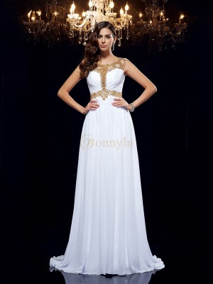 White Chiffon Scoop A-Line/Princess Sweep/Brush Train Evening Dresses