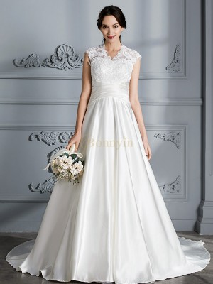 Ivory Satin V-neck Ball Gown Court Train Wedding Dresses